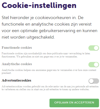 De marketing cookies van AFM